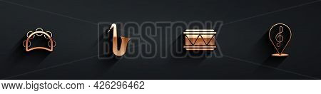 Set Tambourine, Musical Instrument Saxophone, Drum And Treble Clef Icon With Long Shadow. Vector