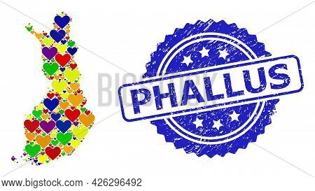 Blue Rosette Textured Stamp With Phallus Phrase. Vector Mosaic Lgbt Map Of Finland With Hearts. Map