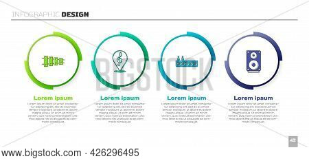 Set Xylophone, Treble Clef, Sound Mixer Controller And Stereo Speaker. Business Infographic Template