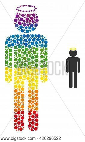 Holy Man Figure Composition Icon Of Circle Elements In Variable Sizes And Rainbow Multicolored Color