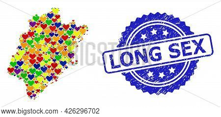 Blue Rosette Rubber Seal Stamp With Long Sex Caption. Vector Mosaic Lgbt Map Of Fujian Province With