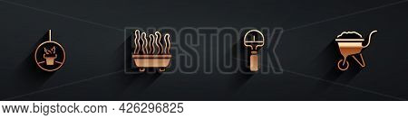 Set Plant In Hanging Pot, , Shovel And Wheelbarrow With Dirt Icon With Long Shadow. Vector