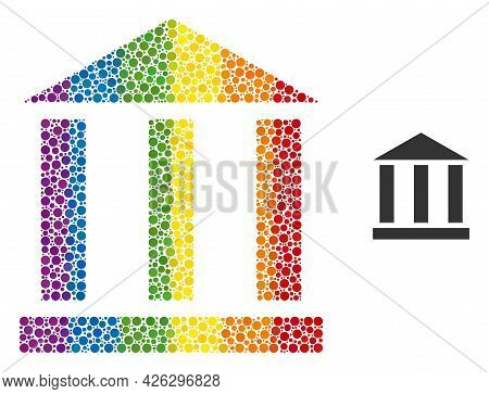 Library Building Mosaic Icon Of Round Dots In Variable Sizes And Spectrum Colorful Shades. A Dotted