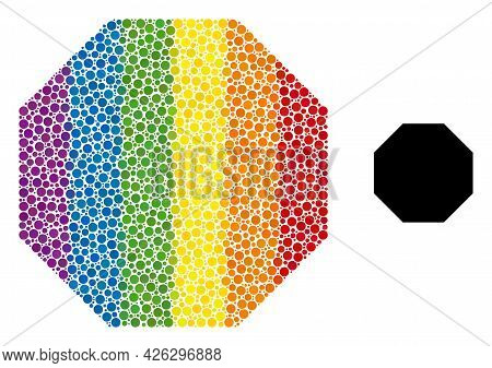 Octagon Composition Icon Of Spheric Dots In Different Sizes And Rainbow Colored Color Tones. A Dotte