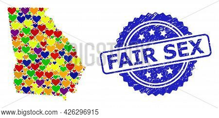 Blue Rosette Rubber Watermark With Fair Sex Message. Vector Mosaic Lgbt Map Of Georgia State With He