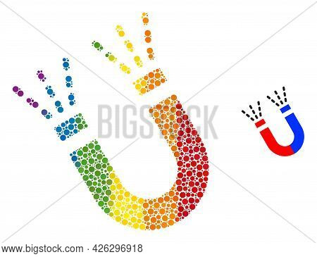 Magnet Force Mosaic Icon Of Spheric Blots In Different Sizes And Spectrum Colored Color Tones. A Dot