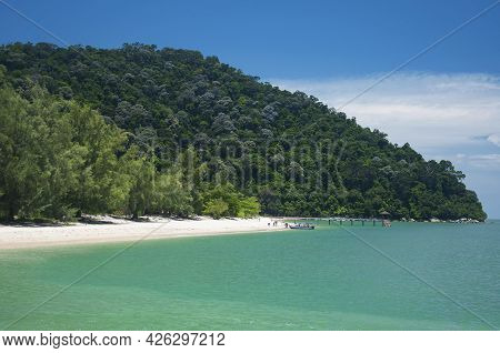 The Sandy Coast And Hills Within The Penang National Park On The Straits Of Malacca In Malaysia On A