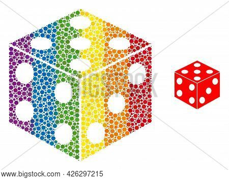 Dice Cube Mosaic Icon Of Round Items In Variable Sizes And Rainbow Colored Color Tinges. A Dotted Lg