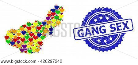 Blue Rosette Distress Seal With Gang Sex Title. Vector Mosaic Lgbt Map Of Granada Province From Love
