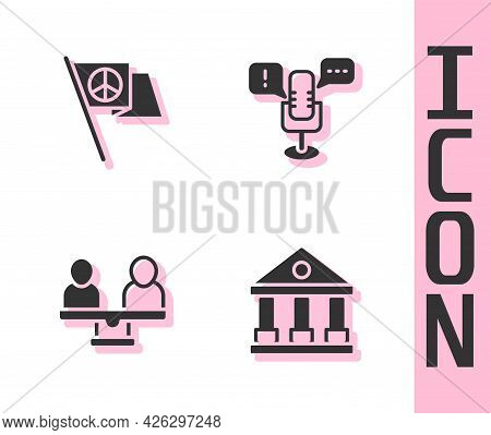 Set Courthouse Building, Peace, Gender Equality And Freedom Of Speech Icon. Vector