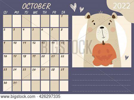 Planner Calendar Template For October 2022. Cute Bear With Pumpkin Halloween On A Bright Background.