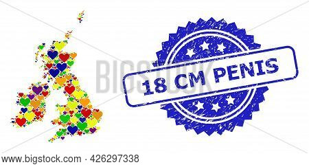 Blue Rosette Scratched Seal Imprint With 18 Cm Penis Phrase. Vector Mosaic Lgbt Map Of Great Britain