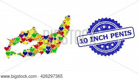 Blue Rosette Textured Watermark With 10 Inch Penis Caption. Vector Mosaic Lgbt Map Of Great Inagua I
