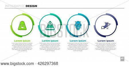 Set Ghost, Masons, Mask Of The Devil With Horns And Hermes Sandal. Business Infographic Template. Ve