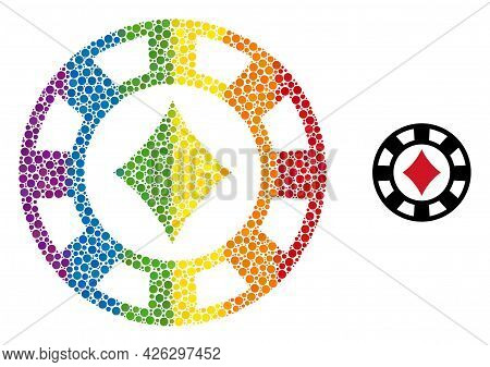 Diamonds Casino Chip Mosaic Icon Of Filled Circles In Various Sizes And Rainbow Colored Color Tones.