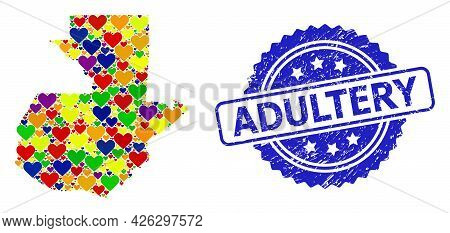 Blue Rosette Rubber Watermark With Adultery Caption. Vector Mosaic Lgbt Map Of Guatemala With Valent