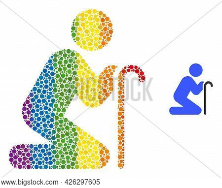 Grandfather Pray Mosaic Icon Of Round Items In Various Sizes And Spectrum Colored Color Tinges. A Do