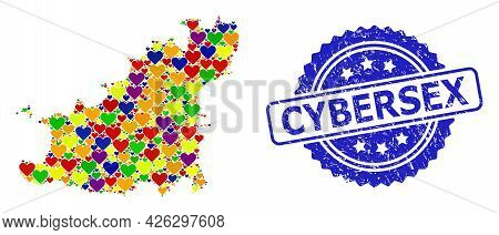 Blue Rosette Textured Seal Stamp With Cybersex Text. Vector Mosaic Lgbt Map Of Guernsey Island With