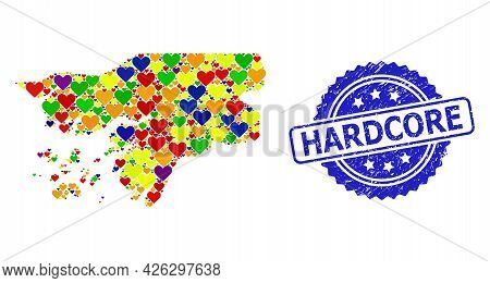 Blue Rosette Textured Seal Imprint With Hardcore Caption. Vector Mosaic Lgbt Map Of Guinea-bissau Of