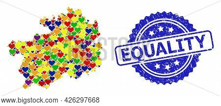 Blue Rosette Distress Seal Imprint With Equality Text. Vector Mosaic Lgbt Map Of Guizhou Province Wi