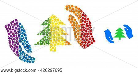 Fir Tree Care Hands Mosaic Icon Of Round Dots In Variable Sizes And Spectrum Colorful Shades. A Dott
