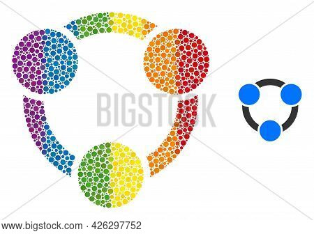 Collaboration Collage Icon Of Circle Elements In Various Sizes And Rainbow Colored Color Tinges. A D