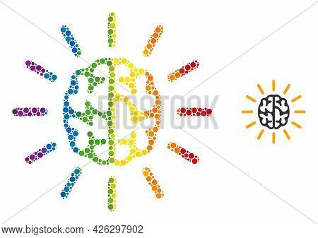 Mind Light Composition Icon Of Round Dots In Different Sizes And Rainbow Color Hues. A Dotted Lgbt-c