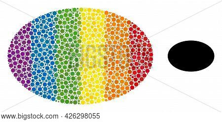 Ellipse Collage Icon Of Circle Elements In Variable Sizes And Spectrum Colored Shades. A Dotted Lgbt