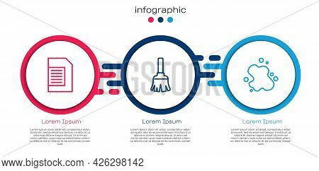 Set Line Laundry Detergent, Feather Broom And Water Spill. Business Infographic Template. Vector