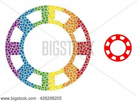 Casino Chip Collage Icon Of Round Dots In Variable Sizes And Spectrum Color Hues. A Dotted Lgbt-colo