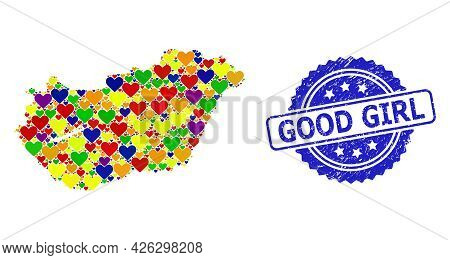 Blue Rosette Distress Seal Stamp With Good Girl Title. Vector Mosaic Lgbt Map Of Hungary With Lovely