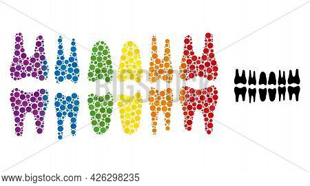 Teeth Jaw Collage Icon Of Round Items In Variable Sizes And Spectrum Colored Color Tones. A Dotted L