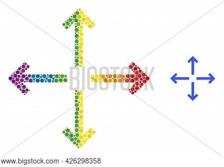 Expand Arrows Mosaic Icon Of Round Dots In Various Sizes And Spectrum Multicolored Color Tinges. A D