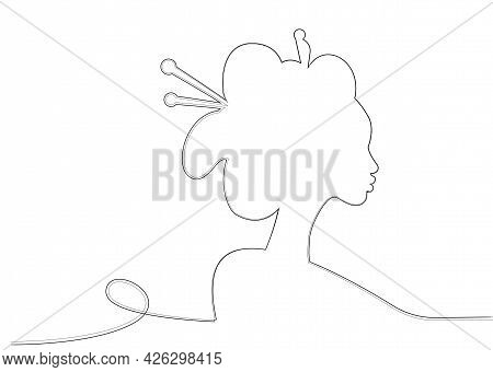 Silhouette Of Young Japanese Girl An Ancient Hairstyle. Black Line Art Style Design. Geisha, Maiko,