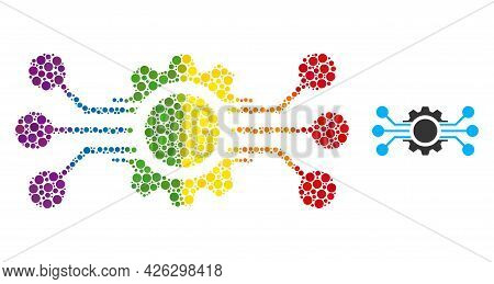 Digital Machine Composition Icon Of Filled Circles In Variable Sizes And Rainbow Colored Shades. A D