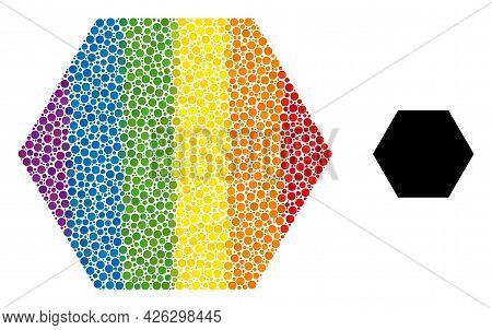 Hexagon Collage Icon Of Round Dots In Various Sizes And Spectrum Colorful Color Tints. A Dotted Lgbt