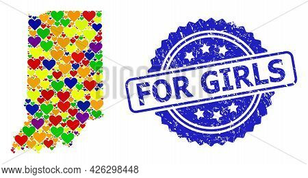 Blue Rosette Textured Stamp With For Girls Text. Vector Mosaic Lgbt Map Of Indiana State With Hearts