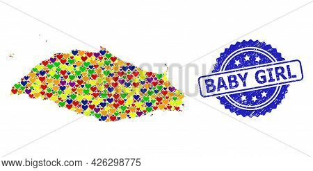 Blue Rosette Grunge Seal Stamp With Baby Girl Title. Vector Mosaic Lgbt Map Of Isla La Tortuga With