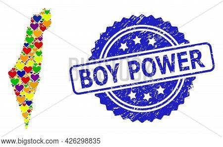 Blue Rosette Grunge Seal Stamp With Boy Power Phrase. Vector Mosaic Lgbt Map Of Israel With Love Hea