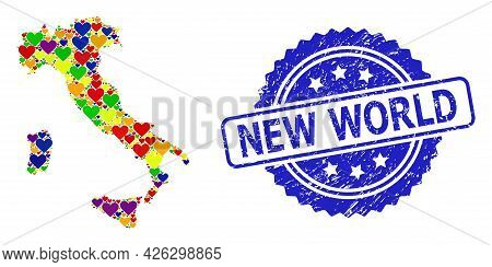 Blue Rosette Scratched Seal Stamp With New World Phrase. Vector Mosaic Lgbt Map Of Italy Of Lovely H