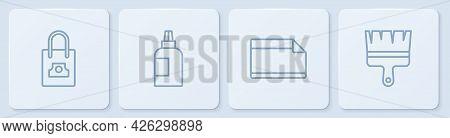 Set Line Spray Can Nozzle Cap, Paper Adhesive Sticker, Paint, Gouache, Jar, Dye And Brush. White Squ