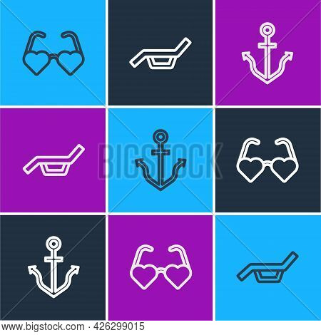 Set Line Heart Shaped Love Glasses, Anchor And Sunbed And Umbrella Icon. Vector