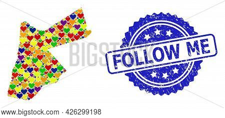 Blue Rosette Scratched Seal Imprint With Follow Me Caption. Vector Mosaic Lgbt Map Of Jordan With Lo