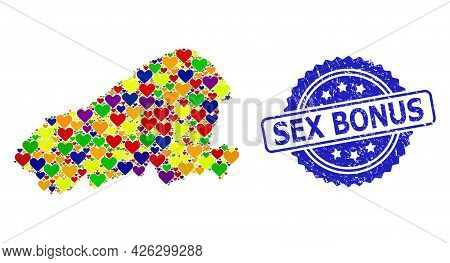 Blue Rosette Textured Stamp With Sex Bonus Text. Vector Mosaic Lgbt Map Of Kahoolawe Island With Hea