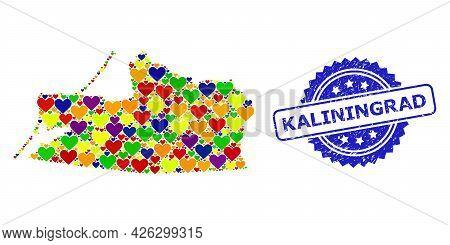Blue Rosette Scratched Stamp With Kaliningrad Phrase. Vector Mosaic Lgbt Map Of Kaliningrad Region O