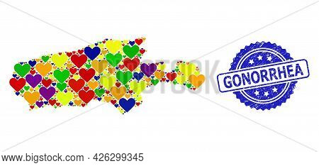 Blue Rosette Rubber Seal With Gonorrhea Caption. Vector Mosaic Lgbt Map Of Kangaroo Island With Love