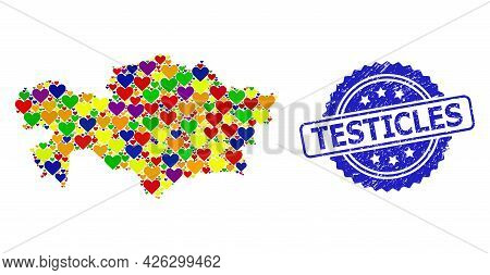 Blue Rosette Textured Watermark With Testicles Title. Vector Mosaic Lgbt Map Of Kazakhstan With Hear