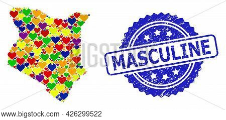 Blue Rosette Distress Watermark With Masculine Title. Vector Mosaic Lgbt Map Of Kenya With Love Hear
