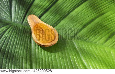 Organic Turmeric Powder In Wooden Spoon - Curcuma Longa