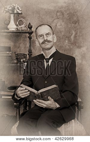 Sepia Portrait Of Man Reading The Book